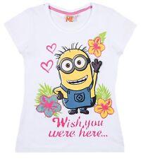 Nueva Camiseta Niñas Minions Manga Corta Gris Blanco Azul 116 128 140 152 #802