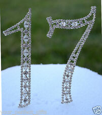 """5"""" Crystal Rhinestone Number Seventeen 17 Silver Cake Topper Top Birthday Party"""