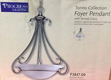 NEW Progress Lighting Torino (P3847-09) 3-Light Foyer Pendant w/ Etched Glass