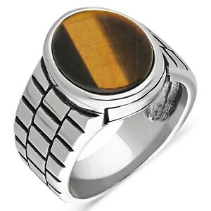 Solid 925 Sterling Silver Tiger's Eye Stone Watch Cord Men's Ring