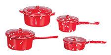 Dollhouse Miniature Red Enamelware Spatterware Pots (8 pcs) - 1:12 Scale