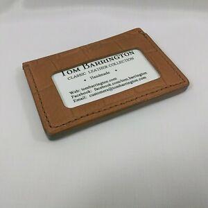 Tom Barrington Credit Card Wallet w/ID Holder, Crocodile Grain Leather Handmade