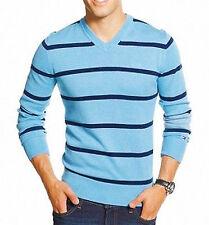 NEU TOMMY HILFIGER Herren Blau Baumwolle Strick V-neck Sweater Pullover $69