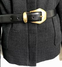 DE VECCHI BY HAMILTON HODGE BELT GENUINE LEATHER MADE IN ITALY GOLD BUCKLE SZ L