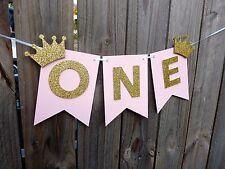 ONE Banner Bunting Garland - Princess 1st birthday high chair banner decor