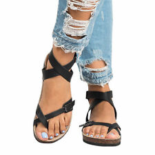 Women's Gladiator Sandals Flip Flop Straps T-Strap Thong Slippers Flat Shoes USA