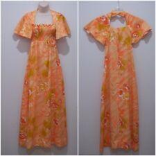 Vintage Hawaiian Dress Womens 8 Diamond Head Sportswear Long Mod Orange #1800