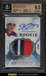 2015 Exquisite Collection Connor McDavid ROOKIE RC PATCH AUTO /97 #97 BGS 9.5