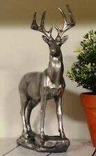More details for antique effect silver stag sculpture statue ornament gift