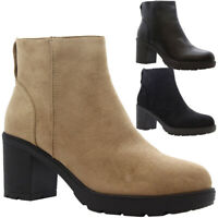 Ladies Ankle Chelsea Boots Women Chunky Block Heel Office Work Winter Shoes Size