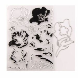 Overprint Flowers Clear Stamps Cutting Dies For Scrapbooking DIY Crafts Stencil