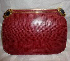 Vtg 80s JUDITH LEIBER Deep RED Burgundy LIZARD EVENING BAG JEWELED CLASP PURSE
