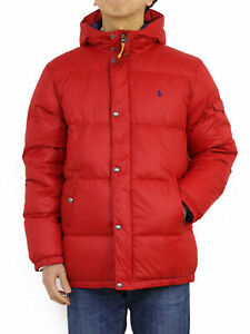 Polo Ralph Lauren Boy's Hooded Down Puffer Jacket Coat - Red -