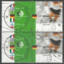 BRD 2002 - Fußballweltmeister - Viererblock - gestempelt - Mi.Nr. 2258-2259