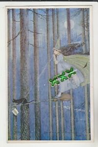 POSTCARD ; ELVES & FAIRIES - THE WITCH ON HER BROOMSTICK - I.R. & G. OUTHWAITE