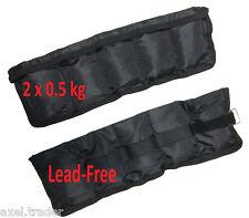 ANKLE WRIST 2 x 0.5kg (1kg) LEAD FREE  WEIGHTS ADJUSTABLE  FITNESS YOGA TRAINING