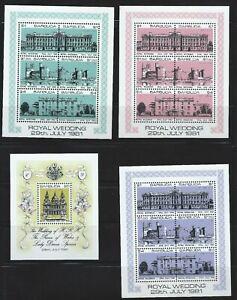 BARBUDA Sc 493-6 Royal Wedding Princess Diana, Palace, Castle Highgrove House