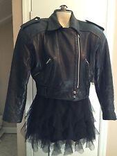 Vintage EXP Ladies Classic Short Black Motorcycle Cruiser Leather Jacket SZ S