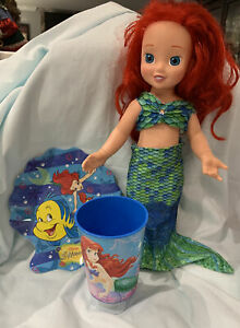 "Disney's ""Little Mermaid"" Plastic Plate & Cup And Ariel Doll W/ Mermaid Suit"