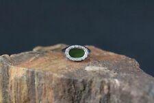 Ring 585er Weißgold mit Jade und Diamanten besetzt (c1290)