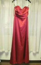 After Six Bridesmaid Dress Prom Full Length Strapless/ Straps Red Satin Size 12