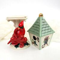 LENOX WINTER GREETINGS Salt and Pepper Shakers Cardinal Bird House Holiday Decor
