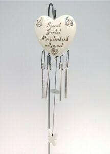 Special Grandad Always Loved Sadly Missed Memorial Heart Wind Chime Only Grave