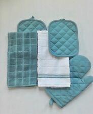 New listing Aqua/White Kitchen Towel Set-5 Piece Set-1 Oven Mitt, 2 Towels, 2 Towels