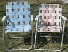 2 Vintage Mid Century Aluminum Chair Folding Lawn Patio Pair Blue Red Webbing