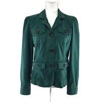 GAP Vintage Utility Military Jacket 8 Slub Collared Button-Up Puff Sleeve Green
