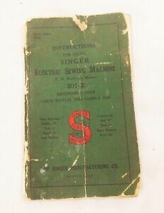 Vtg original Singer 201-2 electric sewing machine instruction booklet manual
