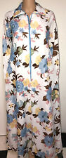 Vtg Rhapsody Dacron Polyester Floral Print Half Zip Robe Peignoir Nightgown S