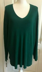 COLDWATER CREEK Womens Sweater Long Sleeve GREEN V-Neck Size 2X