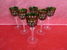 6 Noble copas de Vino Estilo Romano __ cristal al plomo __ Verde __