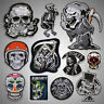 Skull Embroidered Sew On Iron On Patch Badge Fabric Clothes Vest Craft Transfer