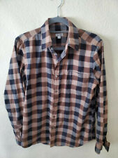 Steven Alan Mens Long Sleeve Shirt size M plaid Brown/Black/Gray, #324