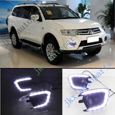 LED Daytime Running Lamp DRL Fog Lamp Cover k For Mitsubishi Pajero Sport 13-15