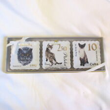 Three Ceramic Catch-All Trays Cat Stamps Persian Blue Celtic Sho