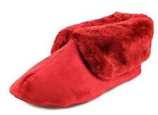 Charter Club Slippers Booties Fur Trim Rubber Sole Deep Red Cozy Comfy S 5/6 New