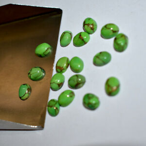 Natural Green Copper Turquoise 15 pcs 10x14mm Oval Cabochon Loose Gemstone