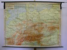 Murs carte belle vieille Europe centrale Carte Allemagne 174x133cm ~ 1946 vintage