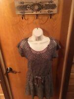 Blue Bird Knit Dress Brown Boho Hippie Casual Womens Small S