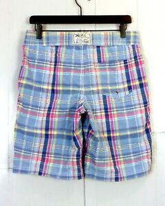 euc Polo Ralph Lauren Soft Pastel Plaid Swim Trunks Board Shorts Pony 32 Waist