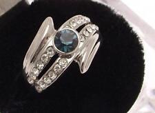Moda Azul Anillo Estilo Diamante Tono Plata 18 mm Diseño P 54