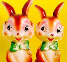 SO CUTE! Bunny Rabbit VTG Anthropomorphic Salt and Pepper Shakers Norcrest Napco