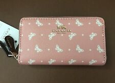 COACH Butterfly PVC Small Double Zip Coin Case/Card Wallet 59782 NEW Blush Chalk
