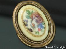PRETTY VINTAGE 60/70'S CREAM BACKED COLOURFUL FLOWER BOUQUET SCARF RING/CLIP