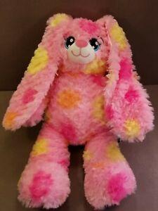 "Build a Bear 16"" Bunny Rabbit Pink Pink & Yellow Spots Plush Toy Stuffed Animal"