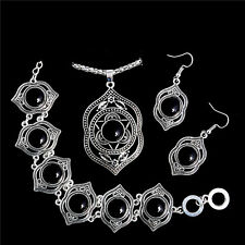 HOT Vintage Turquoise Jewelry Set Pendant Necklace Hook Earrings Bracelet Bangle