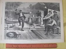 Vintage Print,LIFE ON LUMBER RAFT,Harpers,Oct 1873,Canal